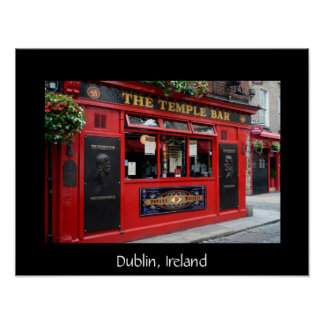 Red Temple Bar pub in Dublin text poster