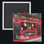 """Red Temple Bar pub square magnet with text: Dublin<br><div class=""""desc"""">Square souvenir fridge magnet with the famous red pub with the hanging flowers baskets in Temple Bar district in Dublin,  the capital of Ireland with the text: &#39;Dublin&#39; in gaelic font.</div>"""