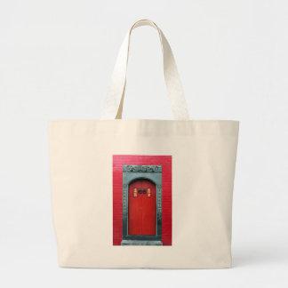 Red temple door bags