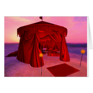 Red Temple Tent Poetry Greeting Card with envelope