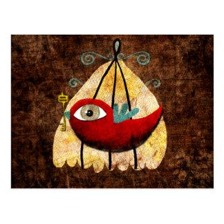 Red tender baby Bird key cage postcard