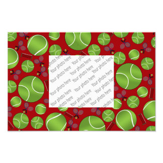 Red tennis balls rackets and nets photo print