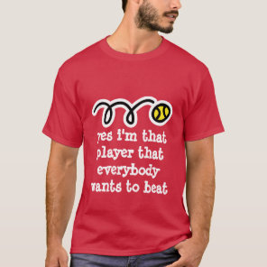 Red tennis t shirt with funny quote