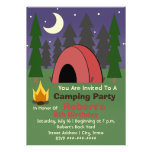 Red Tent Camping Birthday Party Invitation