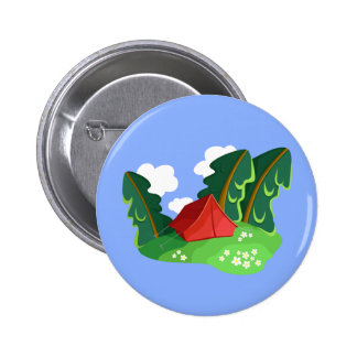 """""""Red tent in summer forest"""" button"""