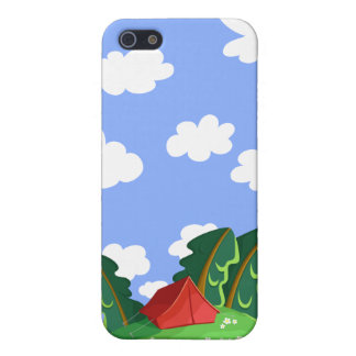 """""""Red tent in summer forest"""" iPhone 4 case"""