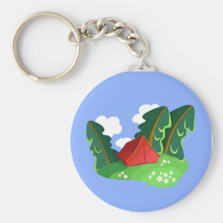 """""""Red tent in summer forest"""" keychain"""