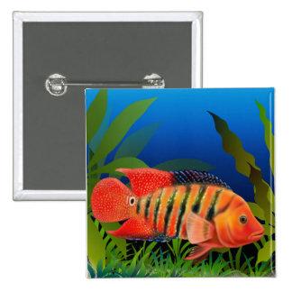 Red Terror Festae Cichlid Fish Pin