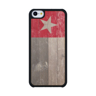 Red Texas Flag Painted Old Wood Carved® Maple iPhone 5C Slim Case