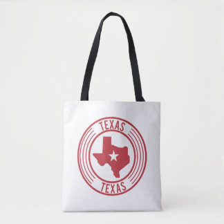 Red Texas Map White Star in Circle Tote Bag