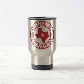 Red Texas Map White Star in Circle Travel Mug