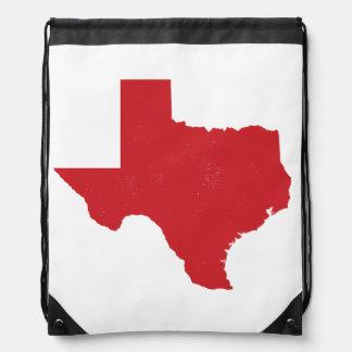 Red Texas State Drawstring Bag