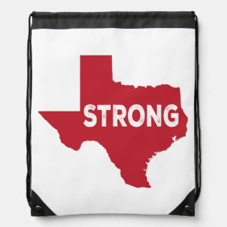 Red Texas State Strong Drawstring Bag