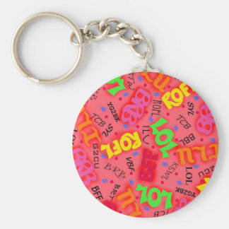 Red Text Art Symbols Words Keychain