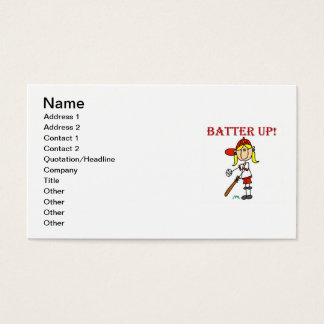 Red Text Batter Up Girls Softball Shirts and Gifts Business Card
