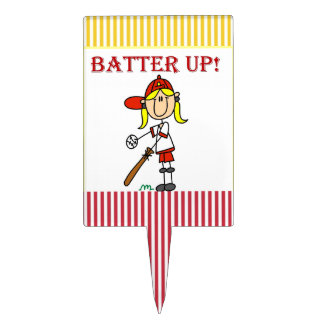 Red Text Batter Up Girls Softball Shirts and Gifts Cake Topper