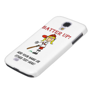 Red Text Batter Up Girls Softball Shirts and Gifts Galaxy S4 Case