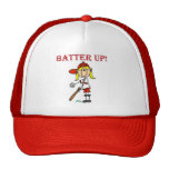 Red Text Batter Up Girls Softball Shirts and Gifts Trucker Hat