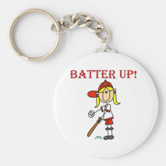 Red Text Batter Up Girls Softball Shirts and Gifts Keychain