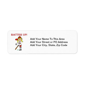 Red Text Batter Up Girls Softball Shirts and Gifts Return Address Label