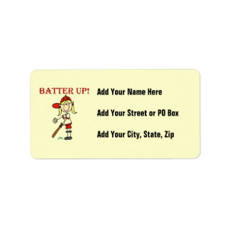 Red Text Batter Up Girls Softball Shirts and Gifts Address Label