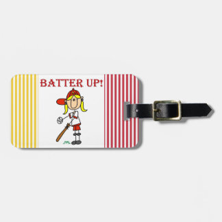 Red Text Batter Up Girls Softball Shirts and Gifts Tags For Luggage