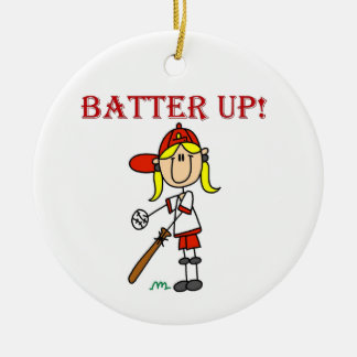 Red Text Batter Up Girls Softball Shirts and Gifts Christmas Tree Ornament
