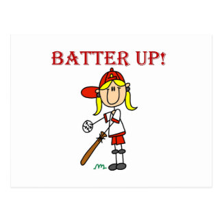 Red Text Batter Up Girls Softball Shirts and Gifts Postcard