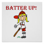 Red Text Batter Up Girls Softball Shirts and Gifts Poster