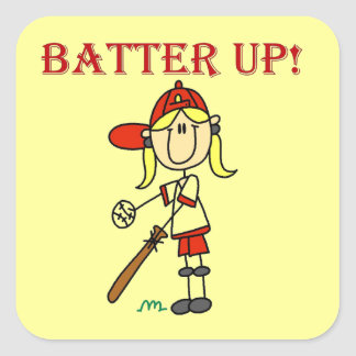 Red Text Batter Up Girls Softball Shirts and Gifts Square Sticker