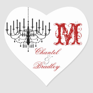 Red Text Black Chandelier Monogram Custom Stickers