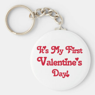 Red Text First Valentine's Day tshirts and Gifts Basic Round Button Keychain