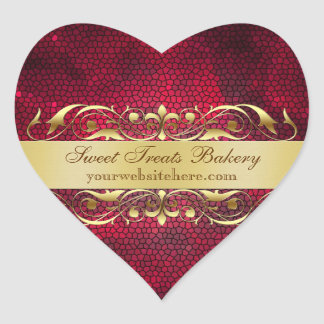 Red Texture Heart Cupcake Baking Label Sticker