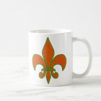 Red Textured Fleur de Lis Coffee Mug