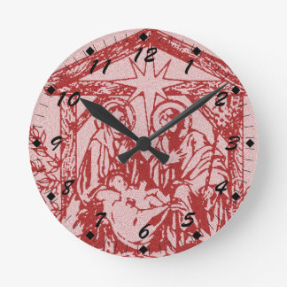 Red Textured Nativity Round Clock