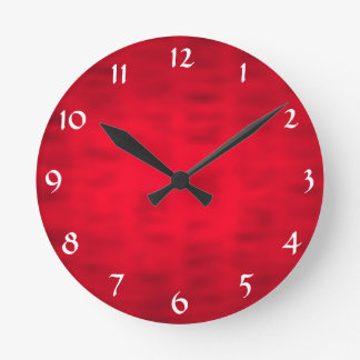 Red Textured Round Clock