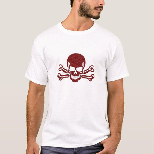 red textured skull and crossbones T-Shirt