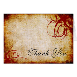 Red Textured Swirled Thank You Card