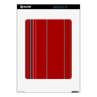 Red Textured With Light Blue Stripe Pattern Decals For The iPad
