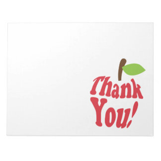 Red Thank You Apple Appreciation Notepad