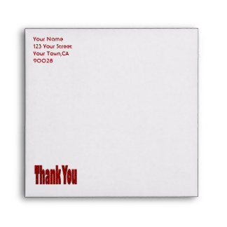 red thank you envelopes