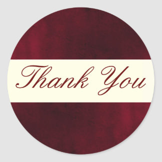 Red Thank You Sticker/Seal Classic Round Sticker