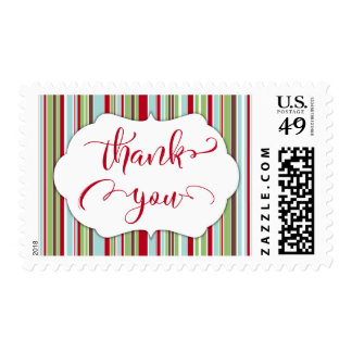 Red Thank You w/ Stripes in Vintage Colors Postage