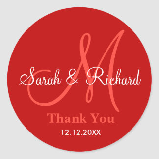 Red Thank You Wedding Monogram Sticker