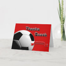 Red Thanks Soccer Coach Thank You Card