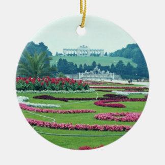 Red The Shonbrunn Castle, Vienna, Austria flowers Ceramic Ornament