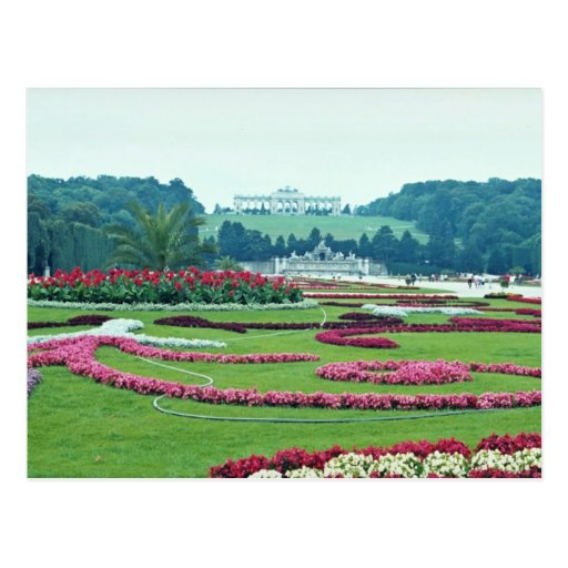 Red The Shonbrunn Castle, Vienna, Austria flowers Post Card