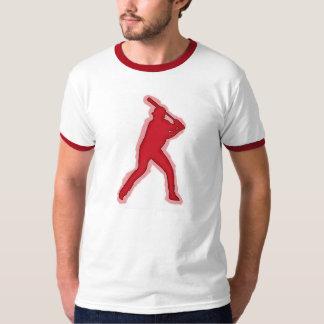 Red theme baseball player ringer guys tee