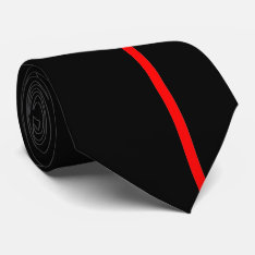Red Thin Vertical Line On Black Offset Right Tie at Zazzle