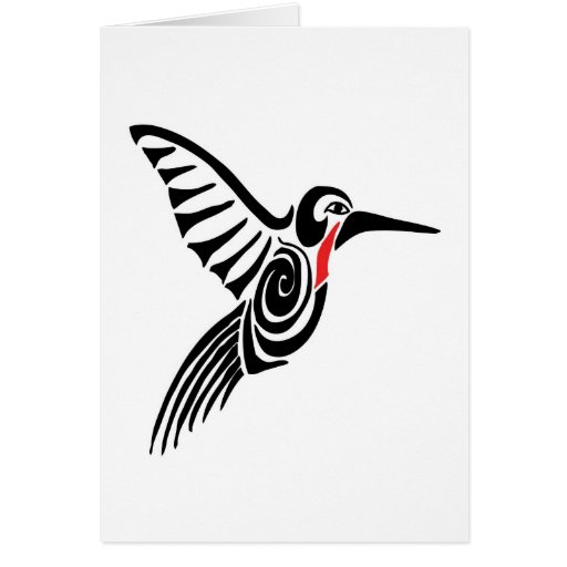 red thoarted hummingbird greeting card